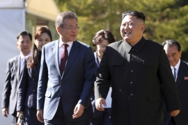 President Moon, left, is hoping to salvage what is left of the aborted Hanoi summit where the US and North Korea failed to reach an agreement [Pyongyang Press Corps Pool via AP]