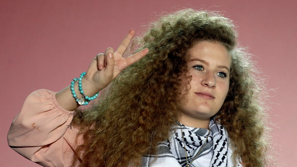 Palestinian teenager Ahed Tamimi gave a speech at the annual festival of Greek Communist Youth in Athens, Greece, on September 22 [Costas Baltas/Reuters]