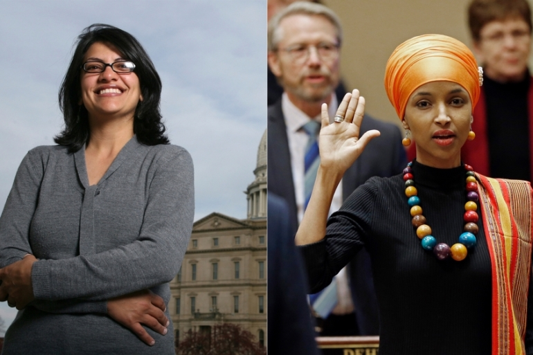 Ilhan Omar and Rashida Tlaib are set to become the first Muslim women elected to the US Congress [AP Photo]