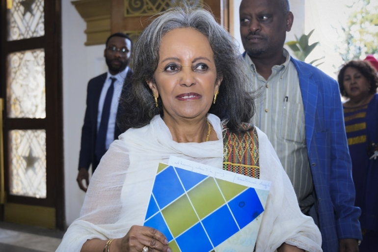 Sahle-Work Zewde arrives at the parliament to be elected as the president of Ethiopia in Addis Ababa [EPA]