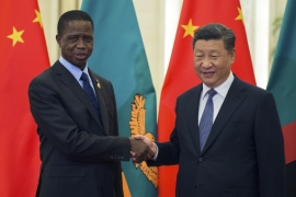 Zambia's President Edgar Lungu shake hands with China's President Xi Jinping prior to their bilateral meeting in Beijing, China, September 11, 2018 [Nicolas Asfouri/AP]