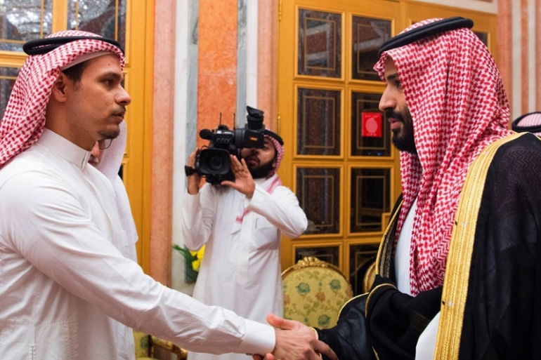Saudi Crown Prince Mohammed bin Salman shook hands with Salah Khashoggi on October 23, 2018 [File/Saudi Press Agency/AP]