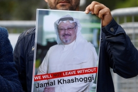 A demonstrator holds picture of Saudi journalist Jamal Khashoggi during a protest in front of Saudi Arabia's consulate in Istanbul, Turkey, October 5, 2018 [Osman Orsal/Reuters]