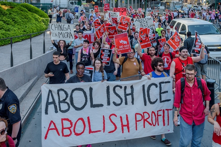 The NYC Democratic Socialists of America march to #AbolishICE. [File: Erik McGregor/Pacific Press/LightRocket/Getty Images]