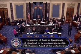 The Senate voted 50-48 in favour of Kavanaugh [Reuters]