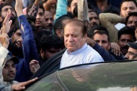 Sharif was dismissed as prime minister on corruption charges last year and subsequently jailed [Mohsin Raza/Reuters]