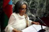 Newly elected President Sahle-Work Zewde addresses the House of Peoples' Representatives in Addis Ababa, Ethiopia October 25, 2018. [Tiksa Negeri/Reuters]