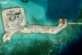 A satellite image from the Asian Maritime Transparency Initiative at the Center for Strategic and International Studies shows construction of possible radar tower facilities in the Spratly Islands in the disputed South China Sea in this image from February 2016 [File/CSIS Asia Maritime Transparency Initiative/DigitalGlobe/Handout via Reuters]