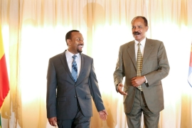 Prime Minister Abiy Ahmed, left, with Eritrea President Isaias Afwerki during the reopening of the Eritrean Embassy in Addis Ababa, Ethiopia on July 16, 2018 [Tiksa Negeri/Reuters]
