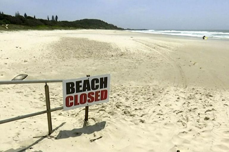 An image made from video shows the beach where a shark attack occurred in Ballina, Australia on Wednesday [Australian Broadcasting Corporation via AP]