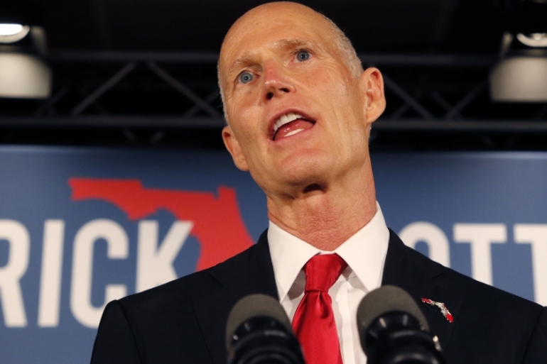 Rick Scott, a Republican Senate hopeful, leads his opponent by less than 0.5 percent, which means a recount is required by law [Joe Skipper/Reuters]