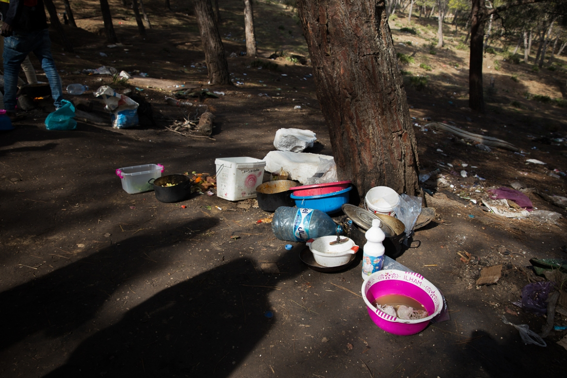 In addition to the police, migrants are also wary of local Moroccans, some of whom threaten them whenever they leave the forest to buy supplies or beg for money. 'For our safety, we usually travel in groups and in daytime,' said one of the migrants. 'Last night, I was on my way to the forest when a group spotted me. They were carrying knives. Thank God, I ran away and reached the forest unharmed.' [Faras Ghani/Al Jazeera]