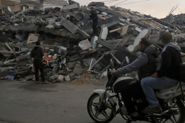 One of Gaza's destroyed residential buildings hit by Israeli air raids [Hatem Moussa/AP]