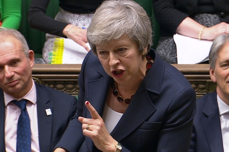 UK Prime Minister Theresa May speaks in the House of Commons last week [Parbul TV via Reuters]