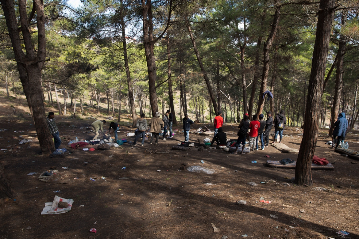 According to authorities, police raid the forest to prevent human trafficking into Spain. 'We are tough on networks and on those who try and use Morocco as a platform for migrant smuggling,' Morocco's border control chief Khalid Zerouali told Al Jazeera. [Faras Ghani/Al Jazeera]