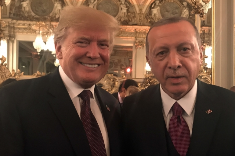 Trump and Erdogan met in Paris at a dinner marking the Armistice Day commemorations [Anadolu]