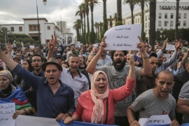 Protesters take part in a march denouncing heavy sentences against Hirak activists, in Rabat on June 27, 2018 [AP Photo/Mosa'ab Elshamy]