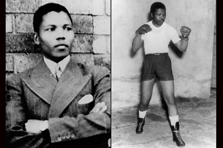 Nelson Mandela in 1937, around the time he began college. As a youth, he enjoyed gardening and boxing.