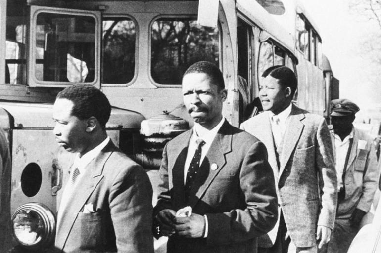 Mandela, third from left, was arrested more than once for advocating against apartheid. In 1962, he and several others were tried in the infamous Rivonia trial, which charged the accused with engaging in sabotage and conspiracy to overthrow the government.