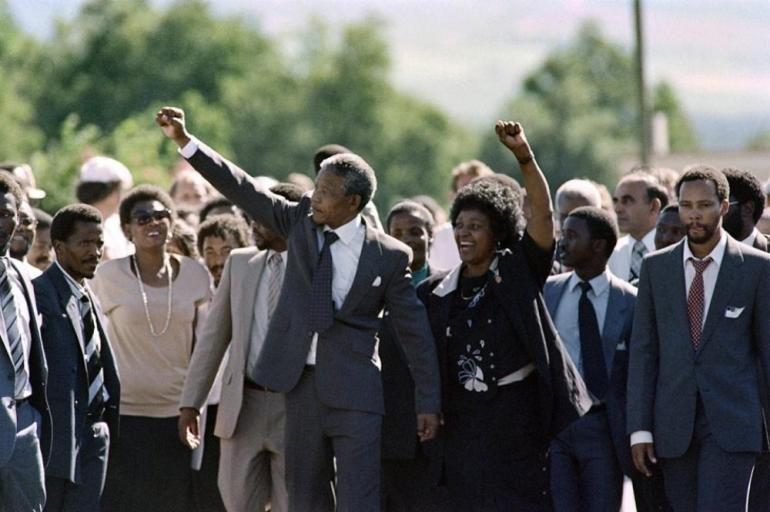 After 27 years in prison, Mandela was freed on February 11, 1990, an event that was broadcast around the world. Here he walks with Winnie and supporters in Paarl.
