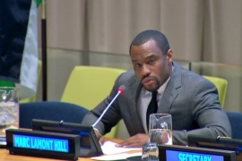 Professor Marc Lamont Hill spoke at the Special Meeting of the Committee on the Exercise of the Inalienable Rights of the Palestinian People on November 28, 2018 [Screenshot/UN]