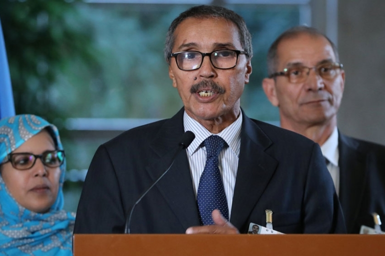 Khatri Addouh, leader of the Sahrawi delegation, at the news conference after the roundtable talks [Denis Balibouse/Reuters]