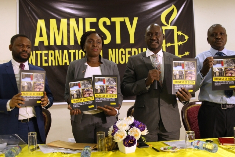 Osai Ojigho, Amnesty International's Nigeria director, attends the launch of the report: Harvest of Death: Three Years of Bloody Clashes Between Farmers and Herders [Afolabi Sotunde/Reuters]