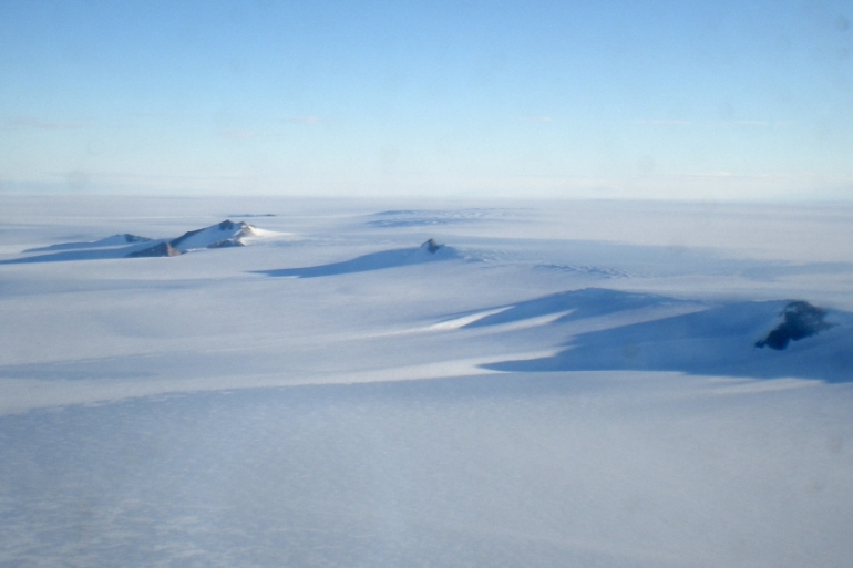 The Antarctic landscape near the Troll Research Station, Antarctica, in February 2009; Colin O'Brady finished a 1,500km journey across the frozen continent without any assistance in 54 days [The Associated Press]