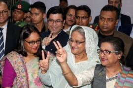 Prime Minister Sheikh Hasina cast her vote in the morning during the election in Dhaka [Sangbad Sangstha/Reuters]