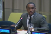 Marc Lamont Hill delivered a speech criticizing Israel to mark International day of Solidarity with the Palestinian People at the UN on November 28, 2018 [Screen-grab/Al Jazeera]