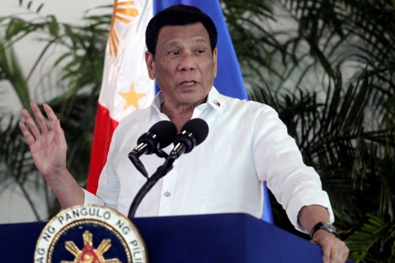 Duterte has been accused of gambling the Philippines' territorial integrity to 'appease' his newfound ally, China [File: Lean Daval Jr/Reuters]