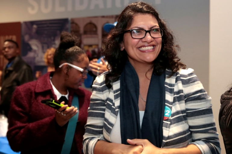 Rashida Tlaib will honour her Palestinian heritage by wearing a traditional thobe at the US Congress swearing-in ceremony in January [Rebecca Cook/Reuters]