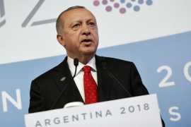 Erdogan delivered a news conference at the G20 summit in Buenos Aires [The Associated Press]