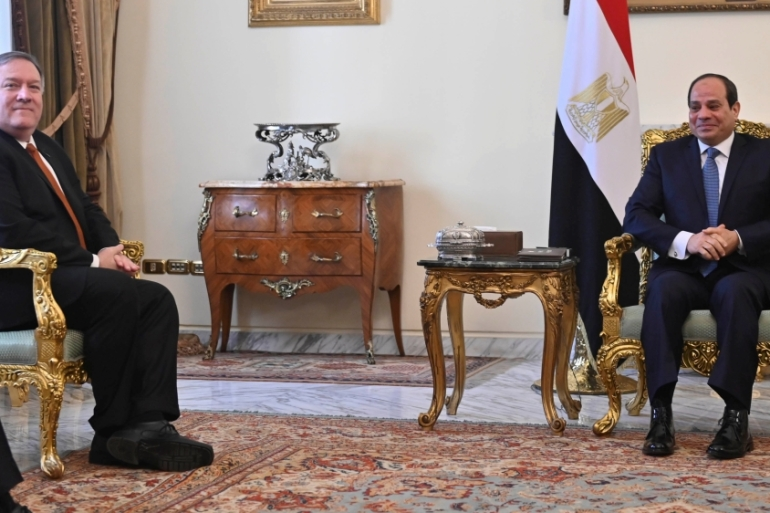Pompeo arrived in Egypt after visiting Jordan and Iraq [Andrew Caballero-Reynolds/Pool via Reuters]