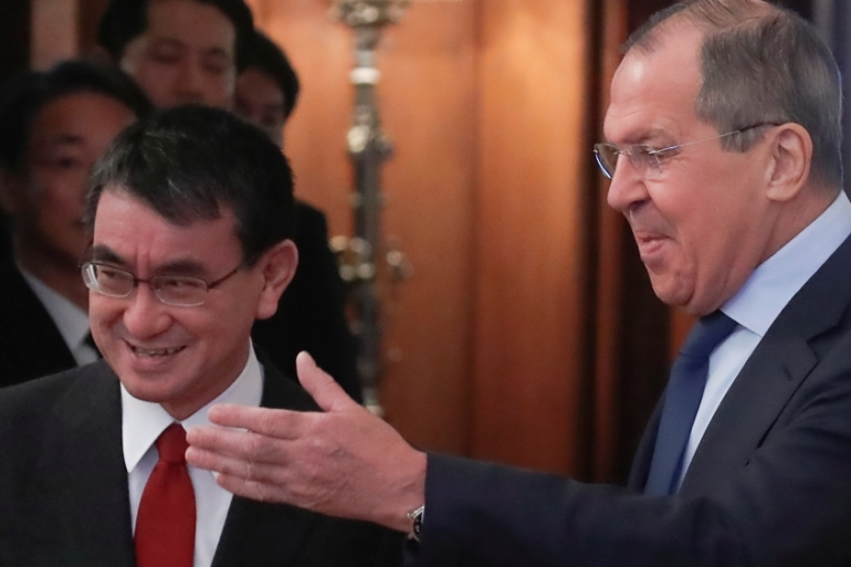 Sergey Lavrov with his Japanese counterpart, Taro Kono, during the meeting in Moscow [Maxim Shemetov/Reuters]
