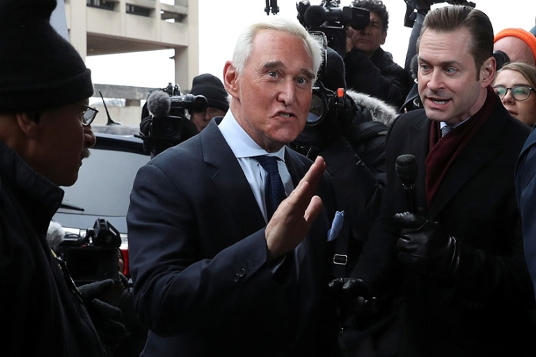 Roger Stone, longtime political ally of US President Donald Trump, arrives for his arraignment at US District Court in Washington, US [Leah Millis/Reuters]