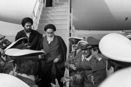 Ayatollah Khomeini returned to Iran in 1979 after 14 years in exile in Turkey, Iraq and France [Gabriel Duval/AFP]
