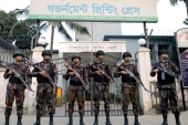 Members of the Border Guard stand guard in front of Bangladesh Government Printing Press ahead of the 11th general elections in Dhaka on December 28, 2018 [File: Reuters/Mohammad Ponir Hossain]