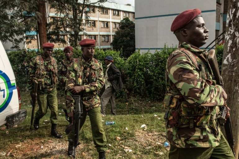 Kenyan security forces walk outside the Dusit Hotel in Nairobi, Kenya [File: Andrew Renneisen/Getty]