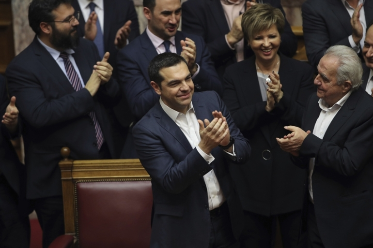 Greek Prime Minister Alexis Tsipras won a confidence vote last week to pave the way for the vote on the name deal [Petros Giannakouris/AP Photo]