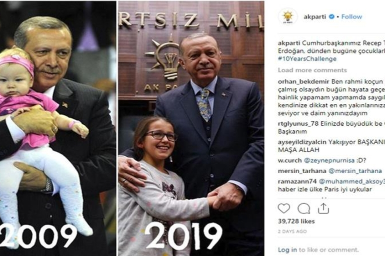 Turkish President Erdogan is shown in two pictures dating a decade apart [Courtesy of AK Parti/Instragram]