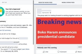 One of the approved ads was a fake announcement by Boko Haram saying the group would talk part in the elections [Screenshot/Al Jazeera]