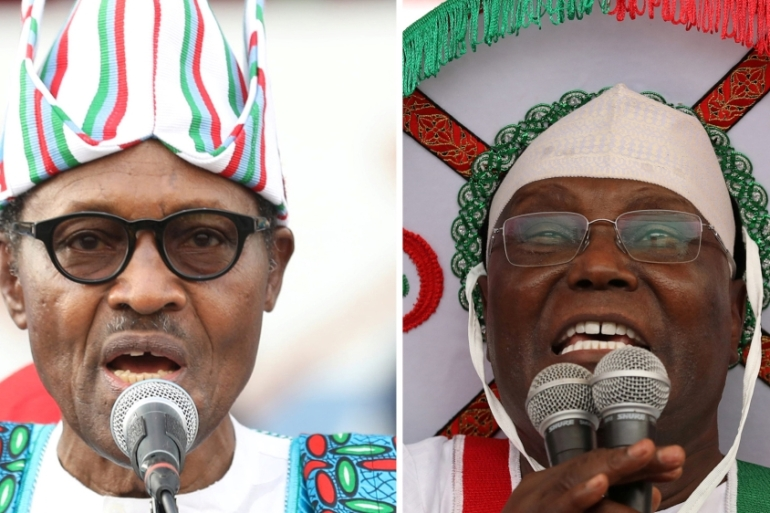 A combo picture shows Nigeria's President Muhammadu Buhari and main opposition party presidential candidate Atiku Abubakar addressing supporters during campaign rallies, Lagos Nigeria [File:Reuters]