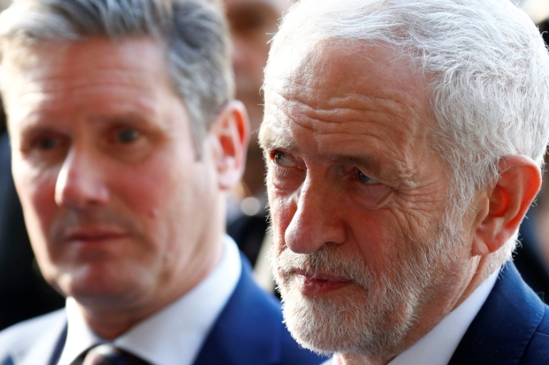 Labour leader Jeremy Corbyn, right, pictured with Labour's Brexit secretary Keir Starmer in Brussels [Francois Lenoir/Reuters]