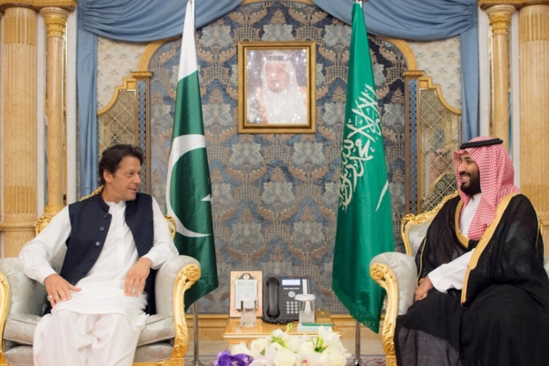 In this file photo from September 2018, Pakistani Prime Minister Imran Khan is seen with Saudi Crown Prince Mohammed bin Salman in Jeddah, Saudi Arabia [Saudi Press Agency via AP]