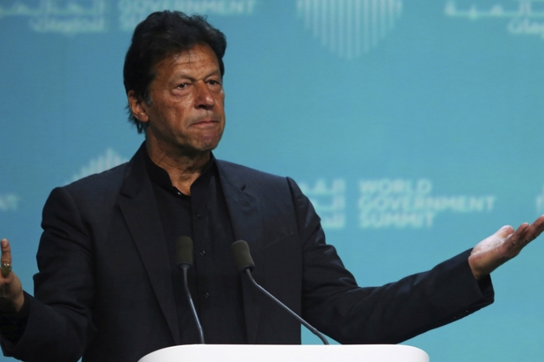 Addressing the World Government Summit, Khan said his government started a reform programme to deal with its soaring debt [Jon Gambrell/AP]