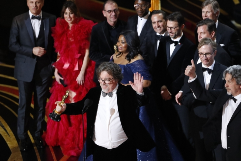 91st Academy Awards - Hollywood, Los Angeles, California, US, February 24, 2019. Peter Farrelly accepts the Best Picture award for Green Book [REUTERS/Mike Blake]