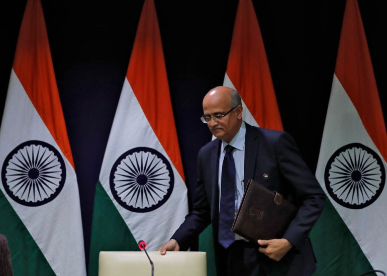 India's Foreign Secretary Vijay Gokhale briefs the media about India's air strikes in Pakistan at the foreign ministry in New Delhi. [Adnan Abidi/Reuters]
