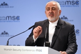 Foreign Minister Javad Zarif spoke during the annual Munich Security Conference last week [Andreas Gebert/Reuters]