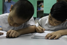 Boys in class at a school run by the ethnic Chin community in Kuala Lumpur [Kate Mayberry/Al Jazeera]